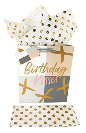 Rose Gold Foil Birthday Gift Bag And Tissue Paper Set Wrapping Ladies Girls Her