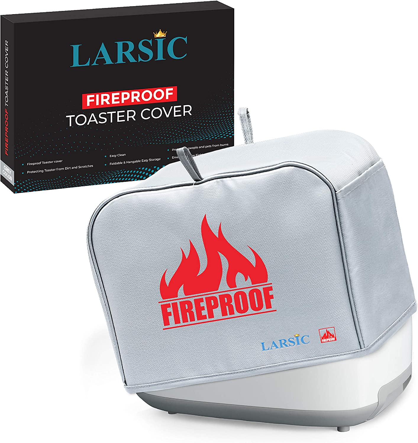 Larsic 2 Slice Toaster Cover Appliance Dust Cover Safeguards Against Dirt, Fingerprints and Burns – Washable, Fire Resistant to 2000 Degrees with Pockets, Hanging Eyelets and Hooks (12x8.5x8