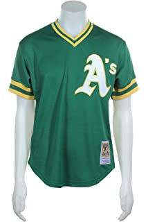 4516eaf114a Mitchell   Ness Oakland Athletics Reggie Jackson Green 1987 Authentic  Batting Practice Jersey