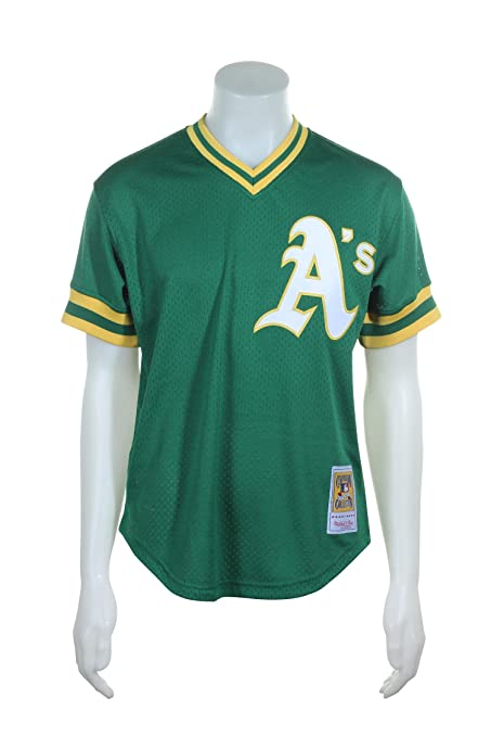3749aa229 Mitchell   Ness Oakland Athletics Reggie Jackson Green 1987 Authentic  Batting Practice Jersey ...