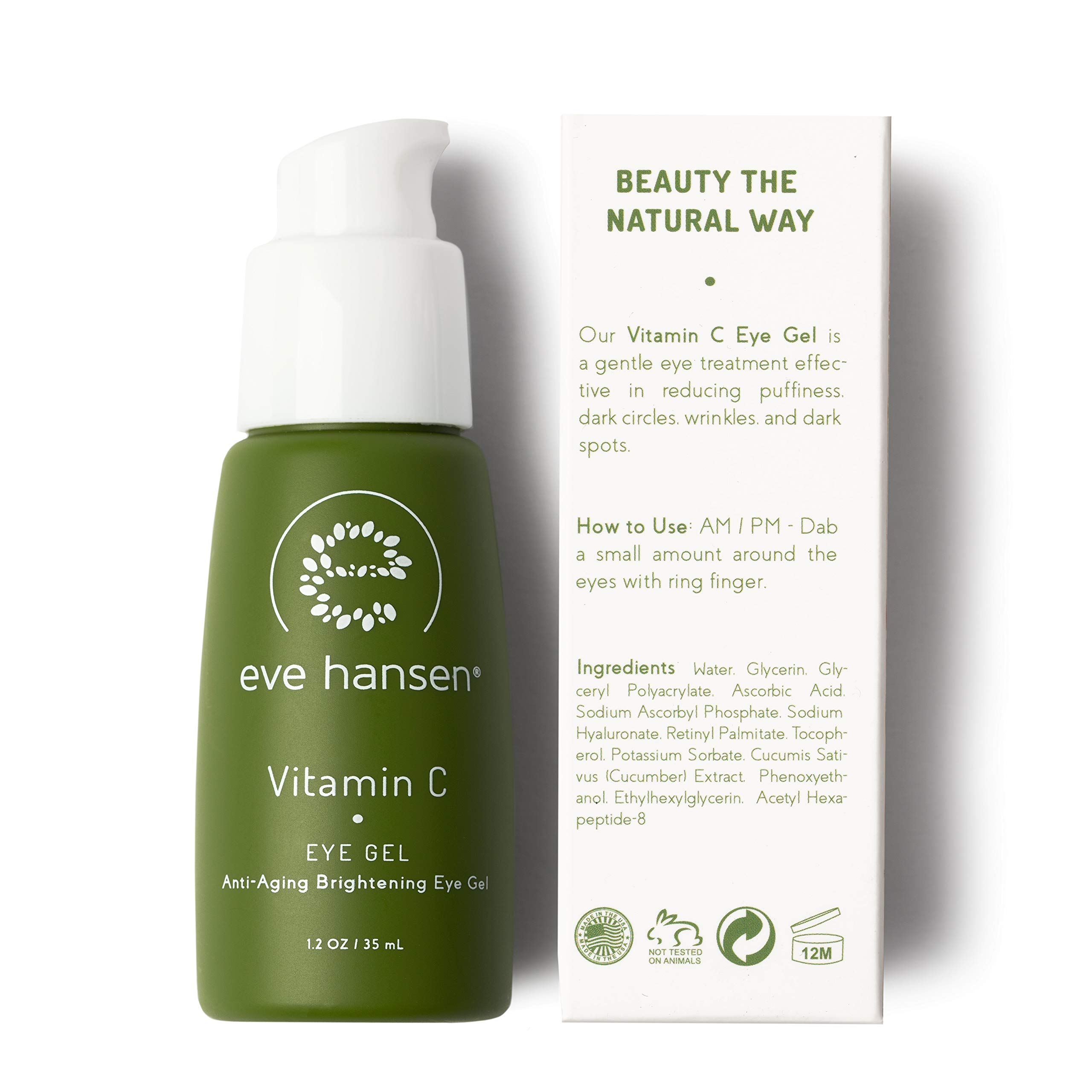 Eve Hansen Dermatologist Tested Vitamin C Eye Gel | Premium, Fragrance Free, Hypoallergenic Skin Brightening Spot Corrector, Eye Puffiness Treatment and Dark Circles Under Eye Treatment | 1.2 oz