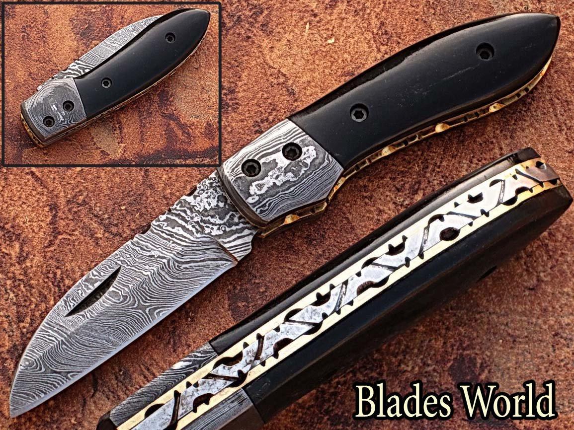 Custom Made Damaskus 15,7cm Taschenmesser mit Buffalo Horn Griff und zusammenklappbar Damaskus Nackenrolle, Fine Art Datei, Klinge unter 7,6cm (bdm-727)