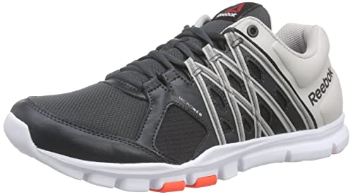 Reebok Unisex Yourflex Train 8.0 Running Shoes, Multicoloured  (Gravel/Steel/Atomic Red