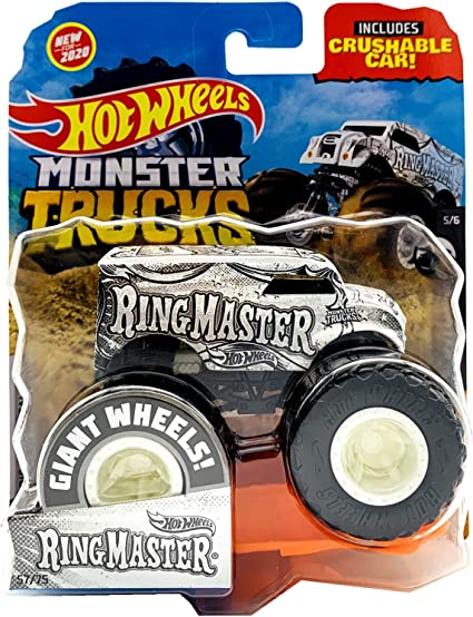 Amazon Com Hot Wheels Monster Trucks 2020 1 64 Scale Diecast Truck With Crushable Car Black And White 5 6 Ring Master Toys Games