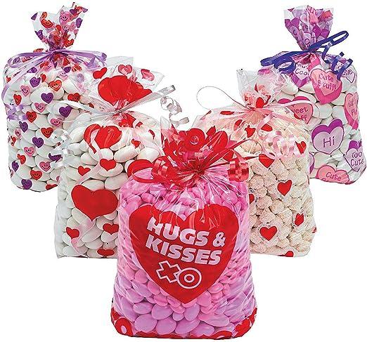 Valentine\u2019s Day Hearts Cellophane Treat Loot Bags \u2013 40 Pieces