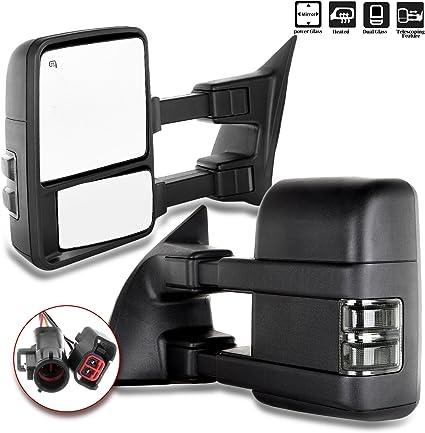 99-07 Ford F250 F350 F450 F550 Mirror Passenger Power Heated Black Telescopic
