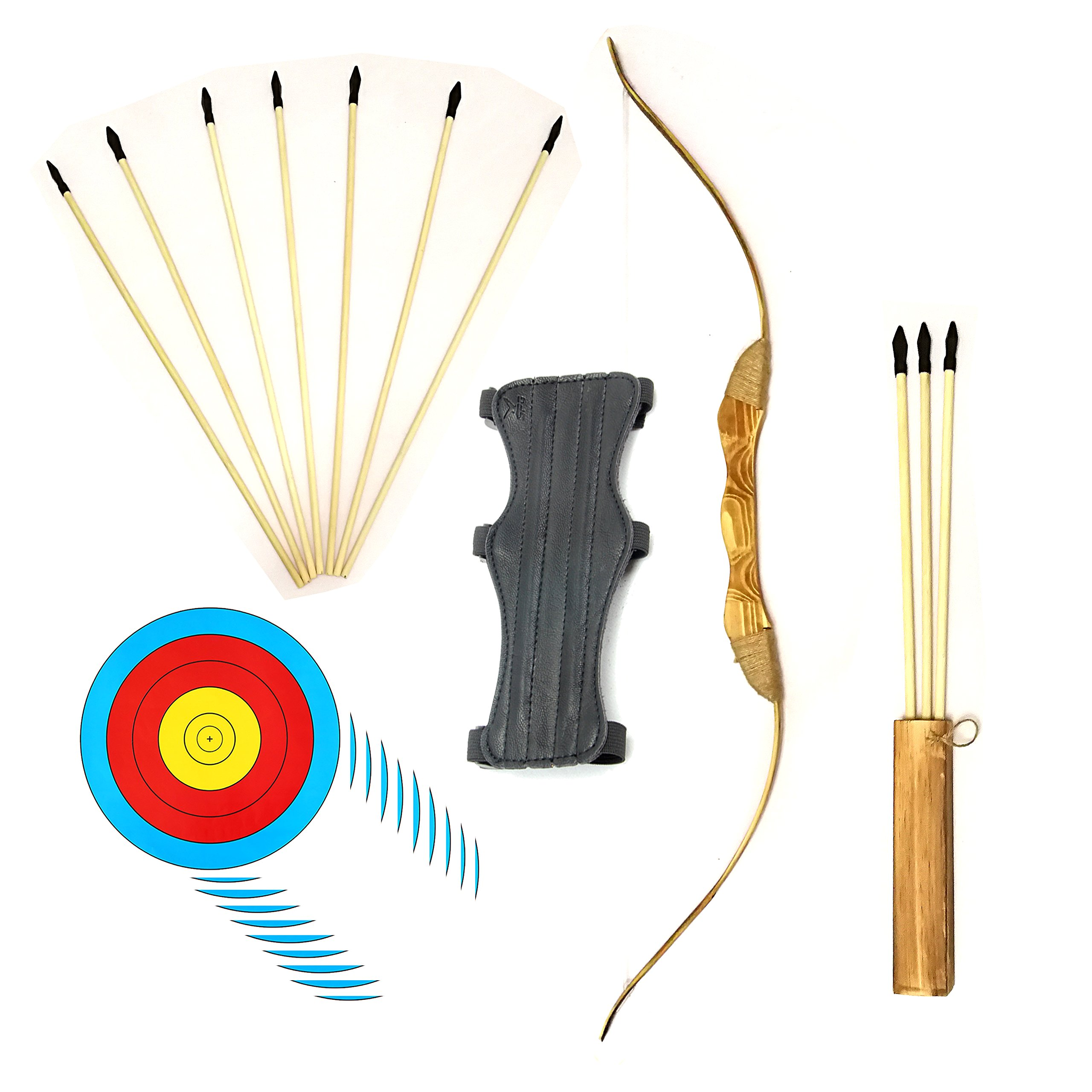 Wooden Bow and Arrow Set with 4 Bullseye Target Sheets and Arm Guard 10 Safe Rubber Tip Arrows and Quiver Most Extensive Archery Set for Kids Youth and Beginners (17 PCS)