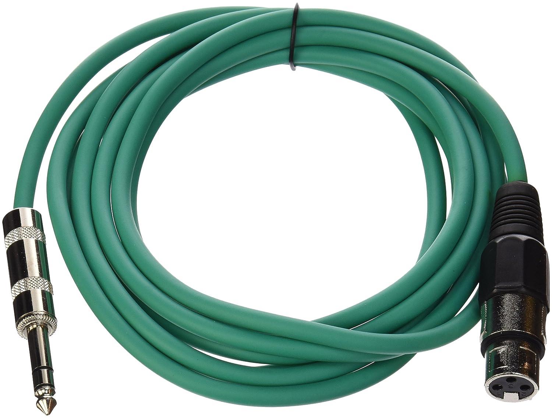 Seismic Audio-SATRXL-F10-Green 10-Feet XLR Female to 1/4-Inch TRS Patch Cable SATRXL-F10Green