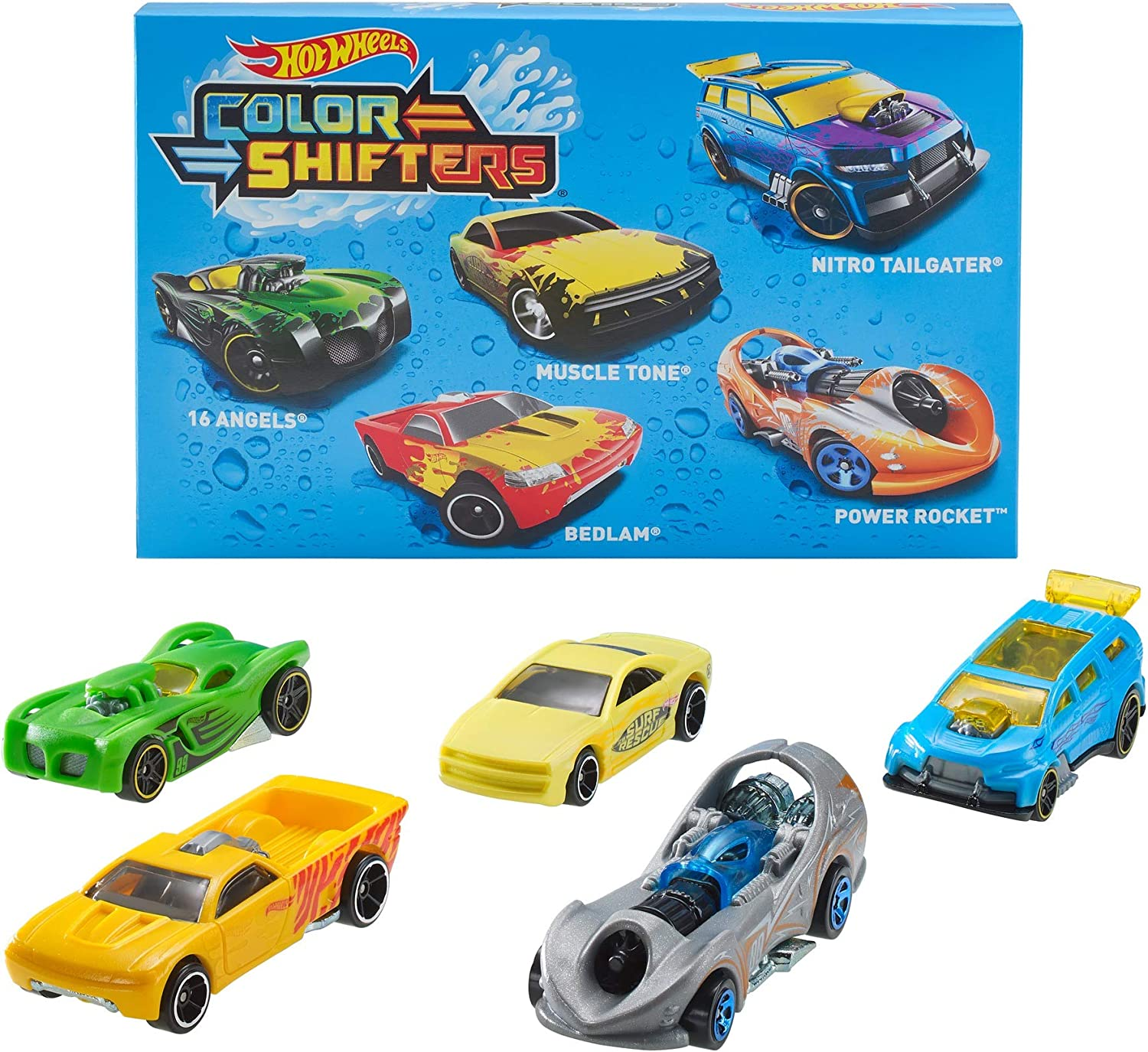 Hot Wheels Shifters Pack de 5 coches que cambian de color, modelo ...