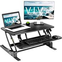 VIVO Black Height Adjustable 32 inch Stand Up Desk Converter | Quick Sit to Stand Tabletop Dual Monitor Riser Workstation (DESK-V000VS)