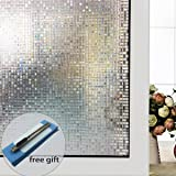 fancy-fix Non Adhesive Privacy Window Film Decorative Cubic Glass Sticker Static Cling Vinly for Home Garden Bathroom Kitchen Office 17.7 x 59 Inches With Free Gifts Squeegee Knife Clean Cloth
