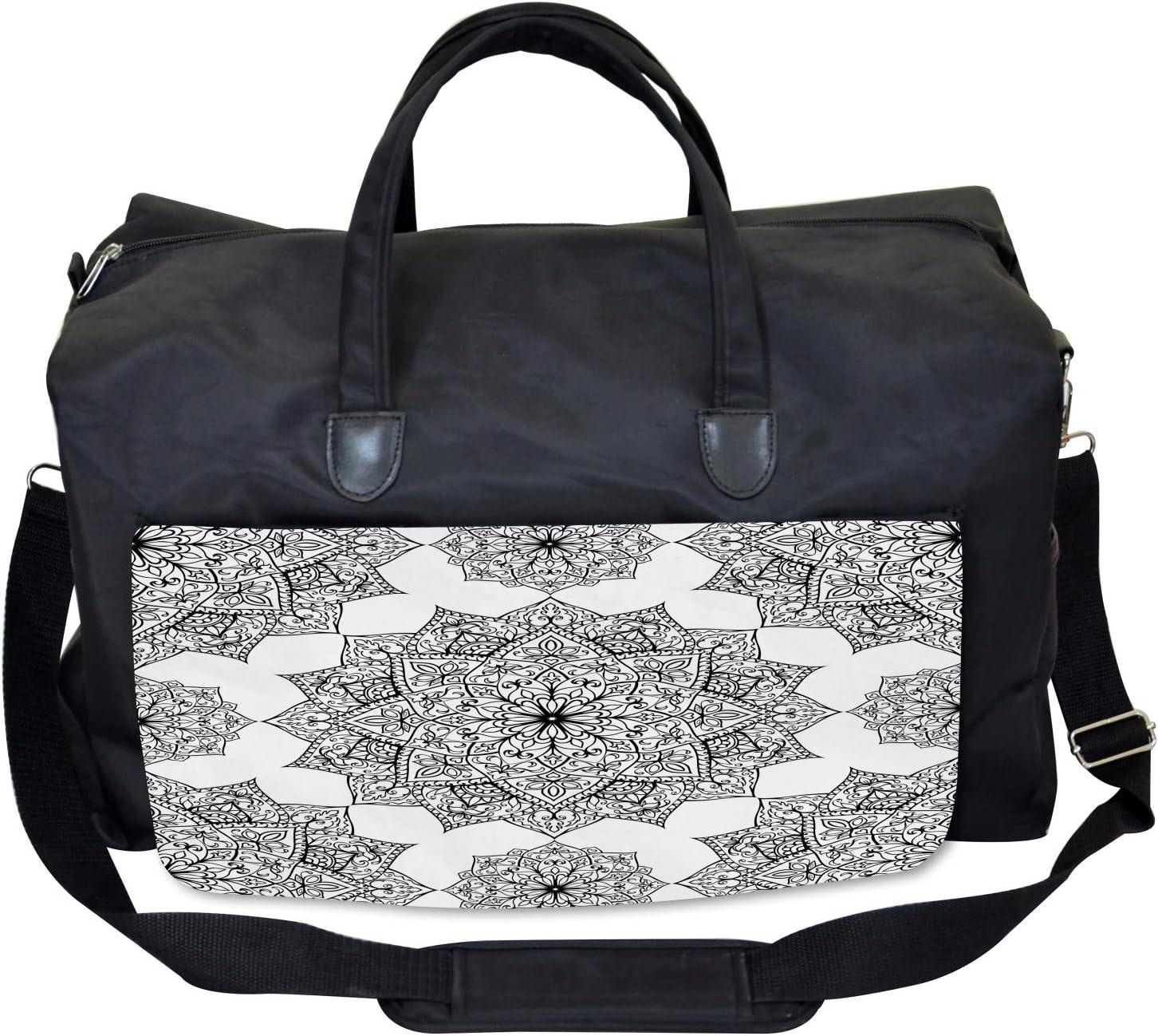 Large Weekender Carry-on Ambesonne Black Gym Bag Eastern Mosaic Patterns