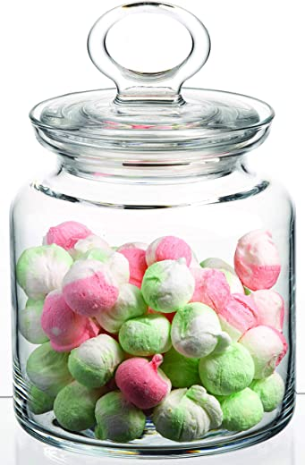 Pasabahce Clear Glass Food Storage Jar with Clear Glass Airtight Lid, Small, Container for Cookie, Candy, Penny, Wide Mouth Canister, Apothecary Jar, 34 oz (Small - 1000cc)