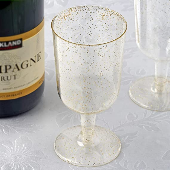 BalsaCircle 36 pcs 7 oz Gold Glittered Clear Plastic Champagne Glasses - Disposable Wedding Party Catering Tableware