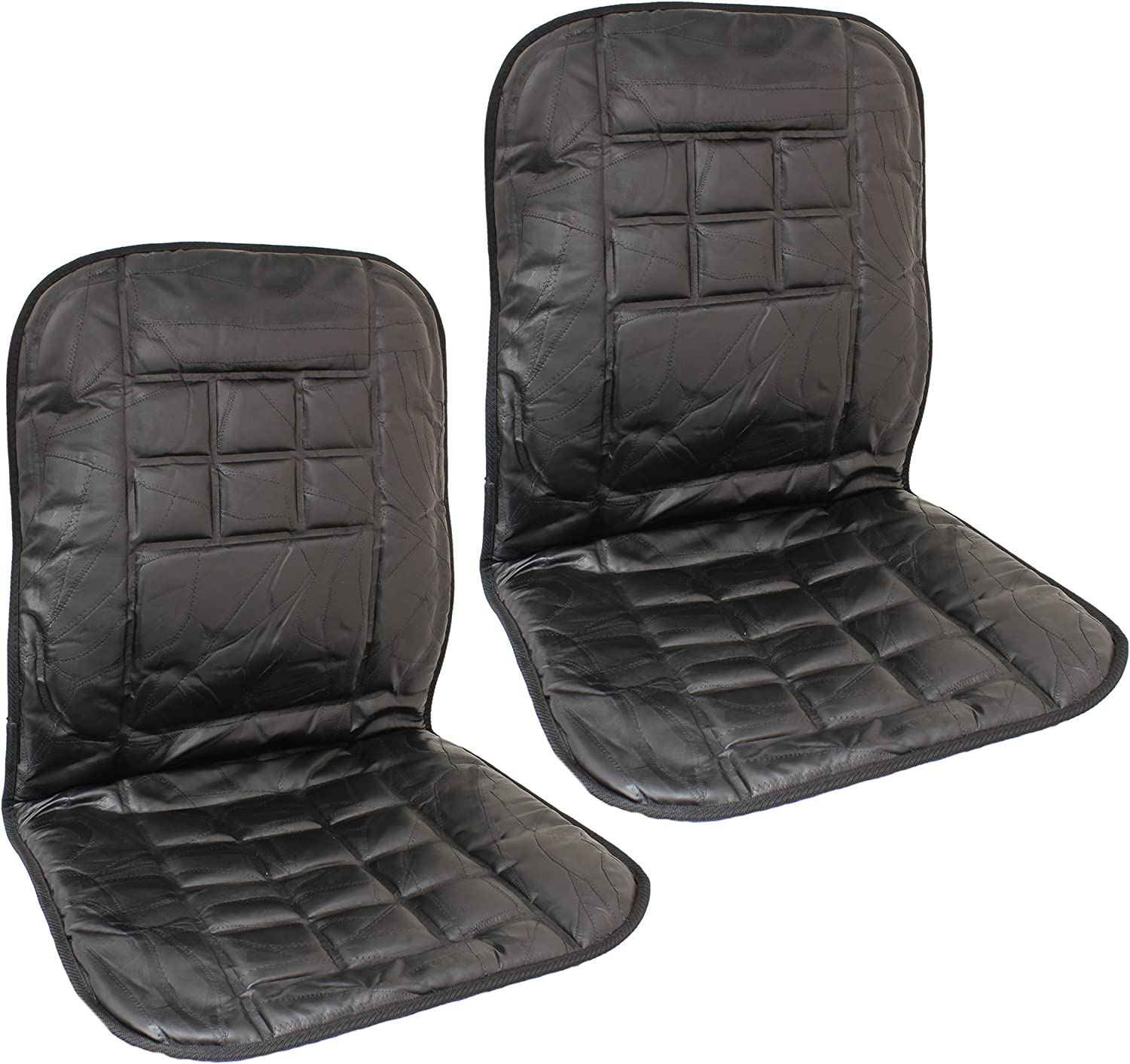 flexzon Pair of 2 orthopaedic leather front car seat covers protect back support cushion