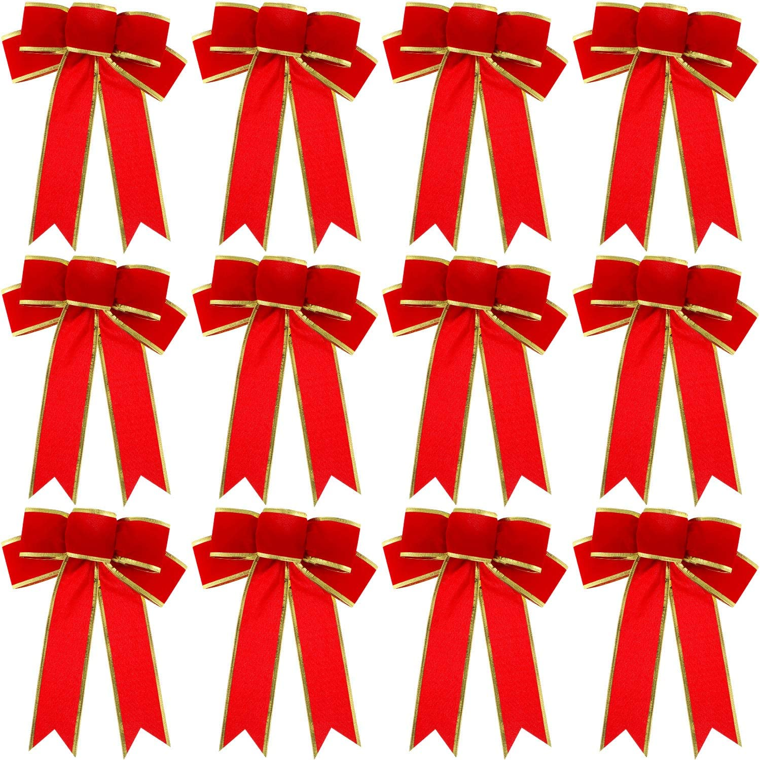 """5/"""" or 10/"""" LUXURY CLIP ON SHINY GOLD WIRED CHRISTMAS TREE BOW   WREATH GIFT"""