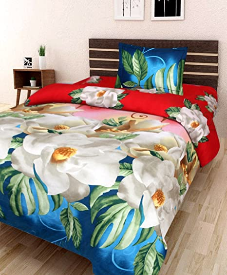 Nidhi Fab 3D Designer Printed 180TC Polycotton 1 Single Bedsheet with 1 Pillow Cover