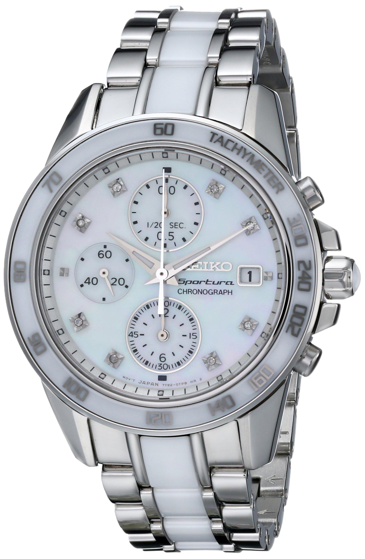 Seiko Women's SNDX95 Sportura Classic Ceramic Chronograph Watch