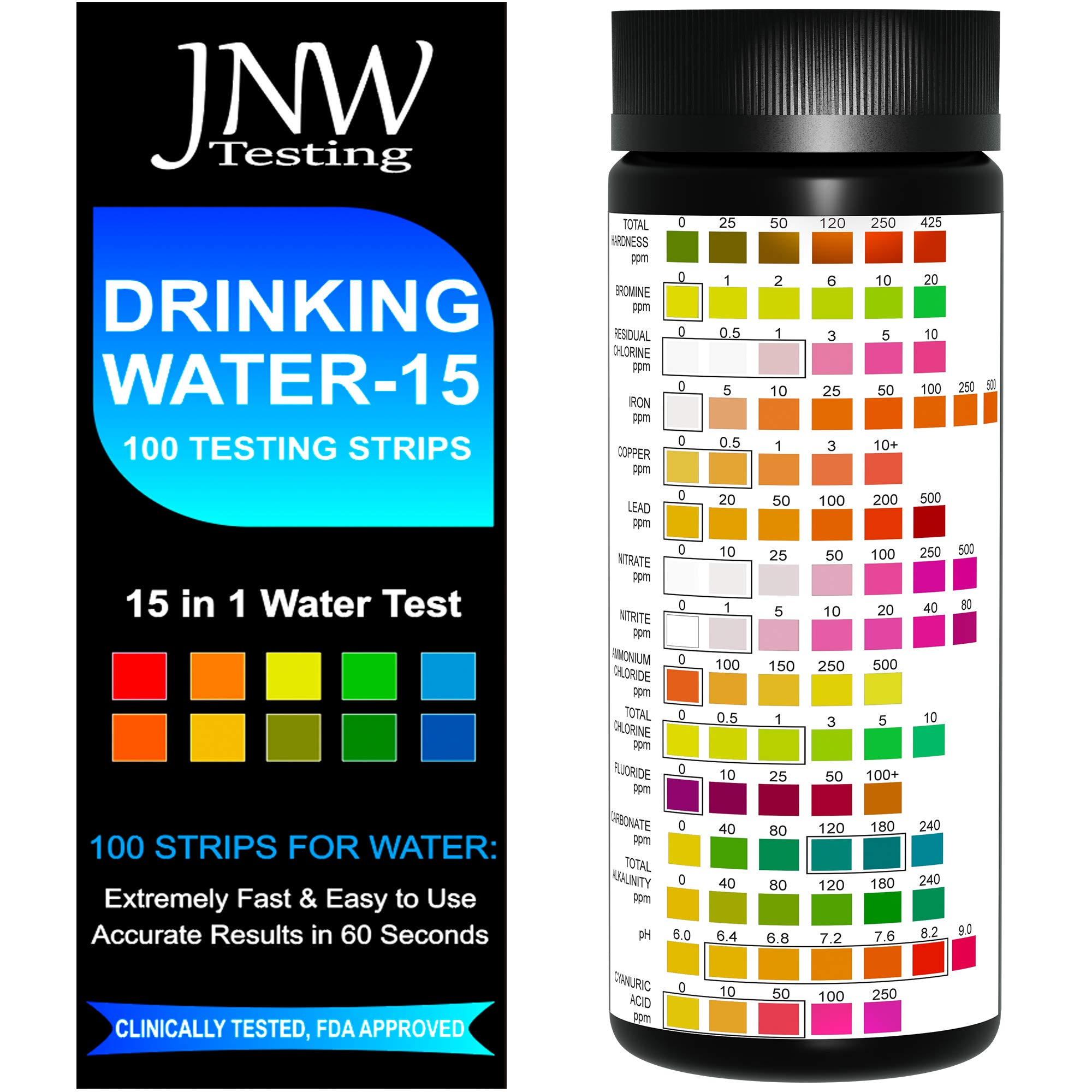 JNW Direct Drinking Water Test Strips 15 in 1, Best Water Tester Kit for Fast, Easy & Accurate Water Quality Testing at Home, 100 Count, Free App & Ebook Included