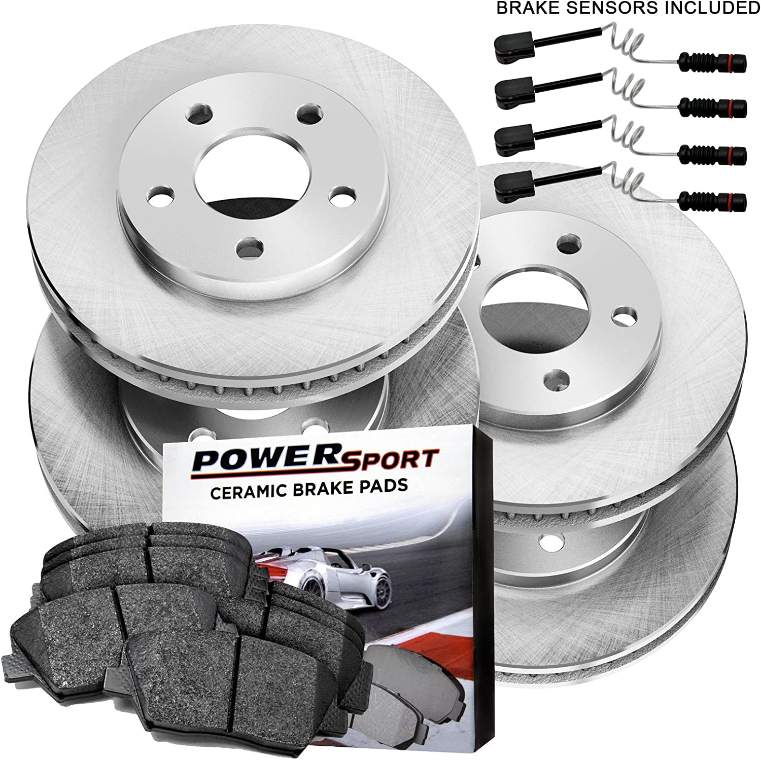 Fit 2006 Mercedes-Benz E350 Front PSport Blank Brake Rotors+Ceramic Brake Pads