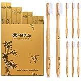 MitButy Bambù Spazzolino da denti [8-pacchi] Setole morbide & spazzolino in legno di bambù con numerazione individuale | 100% naturale, ecologico, vegano, biodegradabile, riciclabile e senza plastica