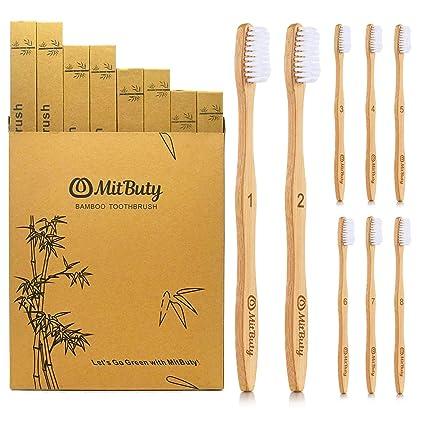 MitButy Cepillo de Dientes de Bambú [8 Uds] Cepillo de Dientes De ...