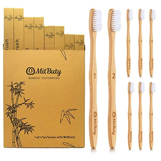 Mit Buty Bamboo Toothbrushes [8 Pack] Soft Bristles & Individually Numbered Eco Friendly Toothbrush | 100% Natural, Organic, Biodegradable, Recyclable And Plastic Free by Mit Buty