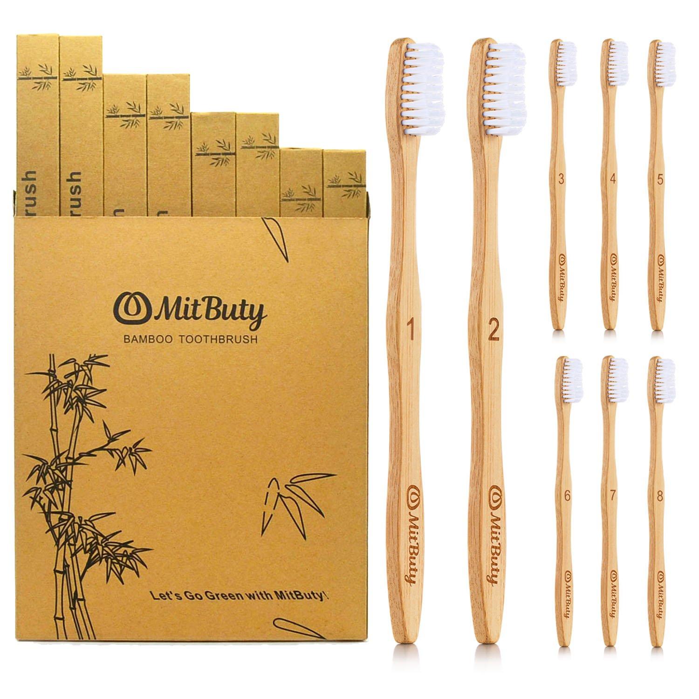 MitButy Cepillo de Dientes de Bambú [8 Uds] Cepillo de Dientes De Madera de