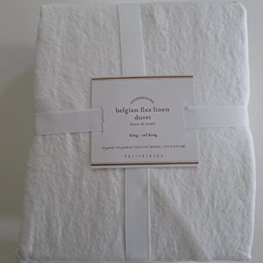 Pottery Barn BELGIAN LINEN FLAX Duvet Cover King/California King ~*White*~