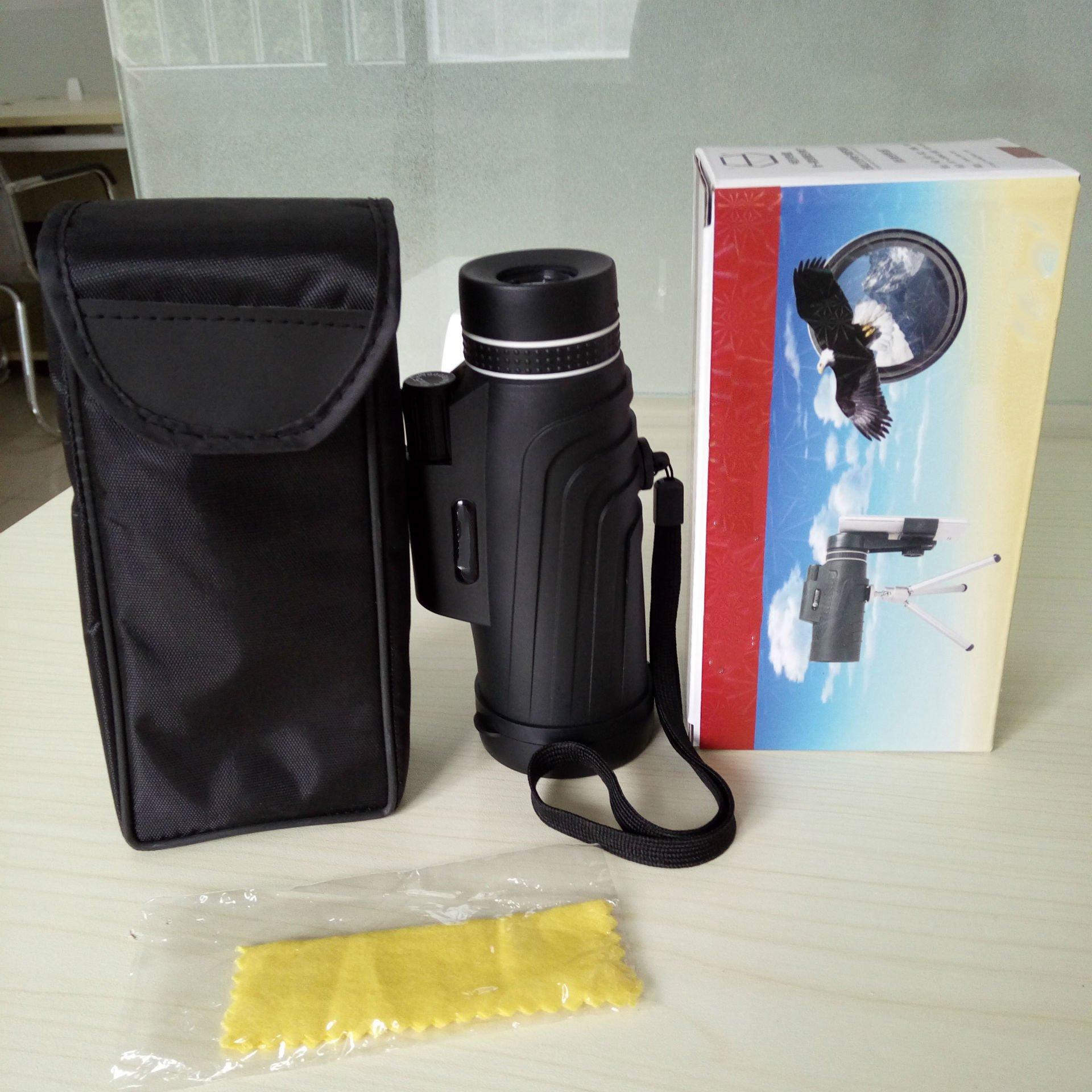 YU 10 × 52 High-Power Monocular Binoculars Outdoor Travel Portable Mobile Phone Camera Glasses,Black