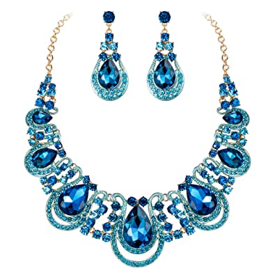 119b4a50d BriLove Costume Fashion Jewelry Set for Women Crystal Teardrop Hollow  Scroll Statement Necklace Dangle Earrings Set