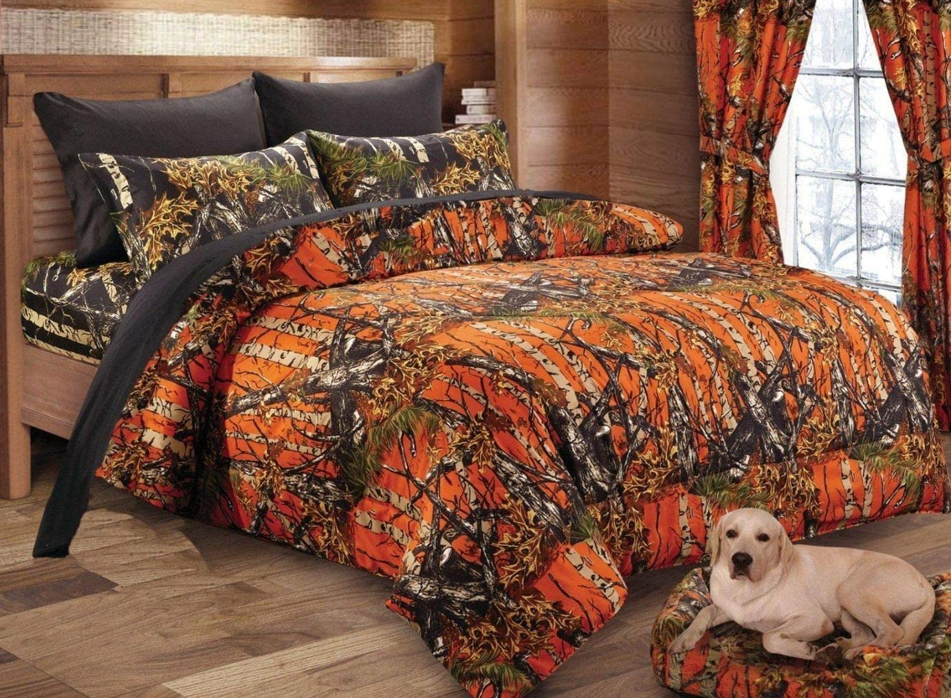 Regal Comfort The Woods Orange Camouflage Premium Luxury Queen Comforter Camo Bedding Set for Hunters Cabin or Rustic Lodge Teens Boys and Girls