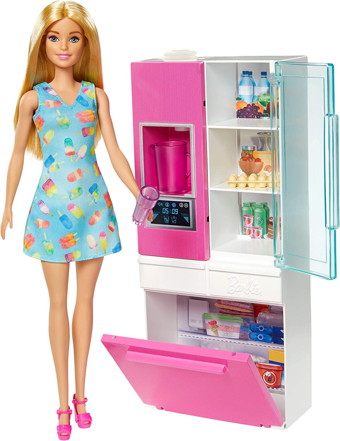 ?Barbie Doll, 11.5-in Blonde, and Furniture Set, Refrigerator with Working Water Dispenser and Three Kitchen Accessories, Gift for 3 to 7 Year Olds