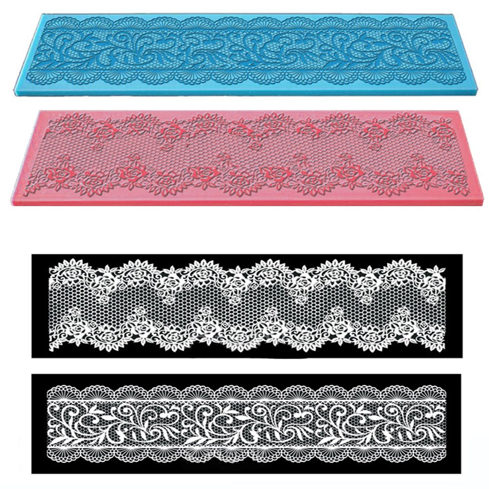 Cake Decoration Fondant Molds Silicone Lace Mat Sugarcraft Wedding Cake Imprint Tools Baking Mould 11 x 4 inches (Blue Flower) Quemu Co. Ltd.