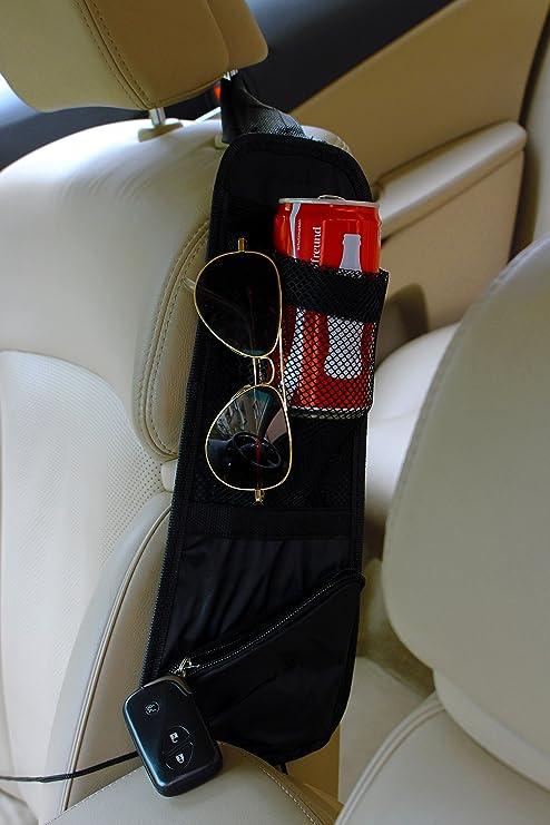 INION BW001 Organizador para asiento de coche, incluye cintas, funda y portavasos, con sujeciones Cintas de fijación organizadora para niños + 2 bombillas ...