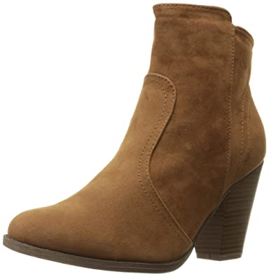 Breckelles Women's HEATHER-34 Faux Suede Chunky Heel Ankle Booties Beige Suede 8