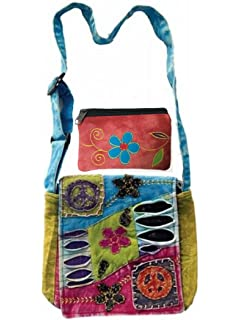 02e05527b215 Patchwork Peace Sign Cross Body Small Messenger Shoulder Bag   Coin Money  Purse Bundle Embroidered Tie