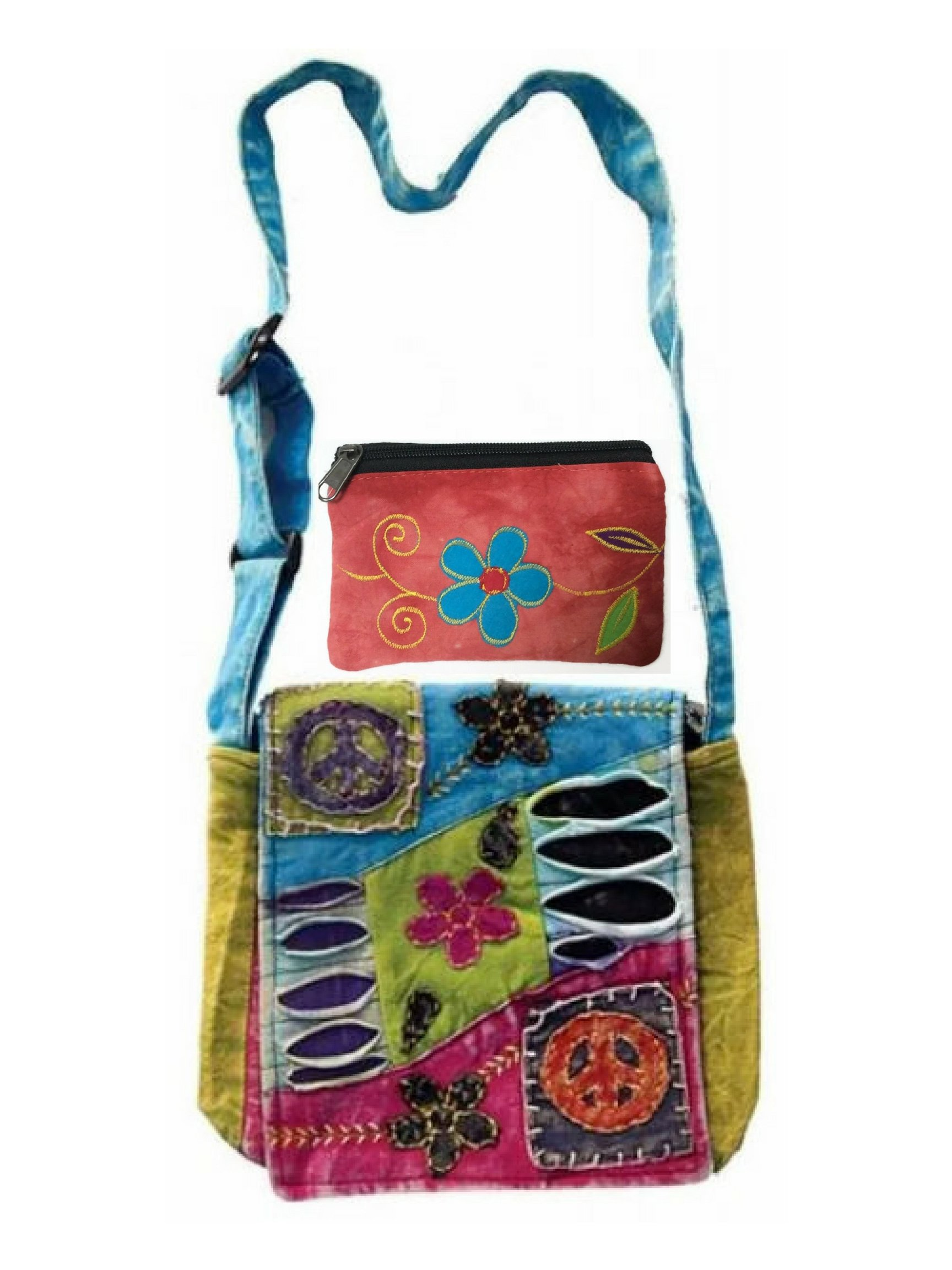Patchwork Peace Sign Cross Body Small Messenger Shoulder Bag & Coin Money Purse Bundle Embroidered Tie Dye