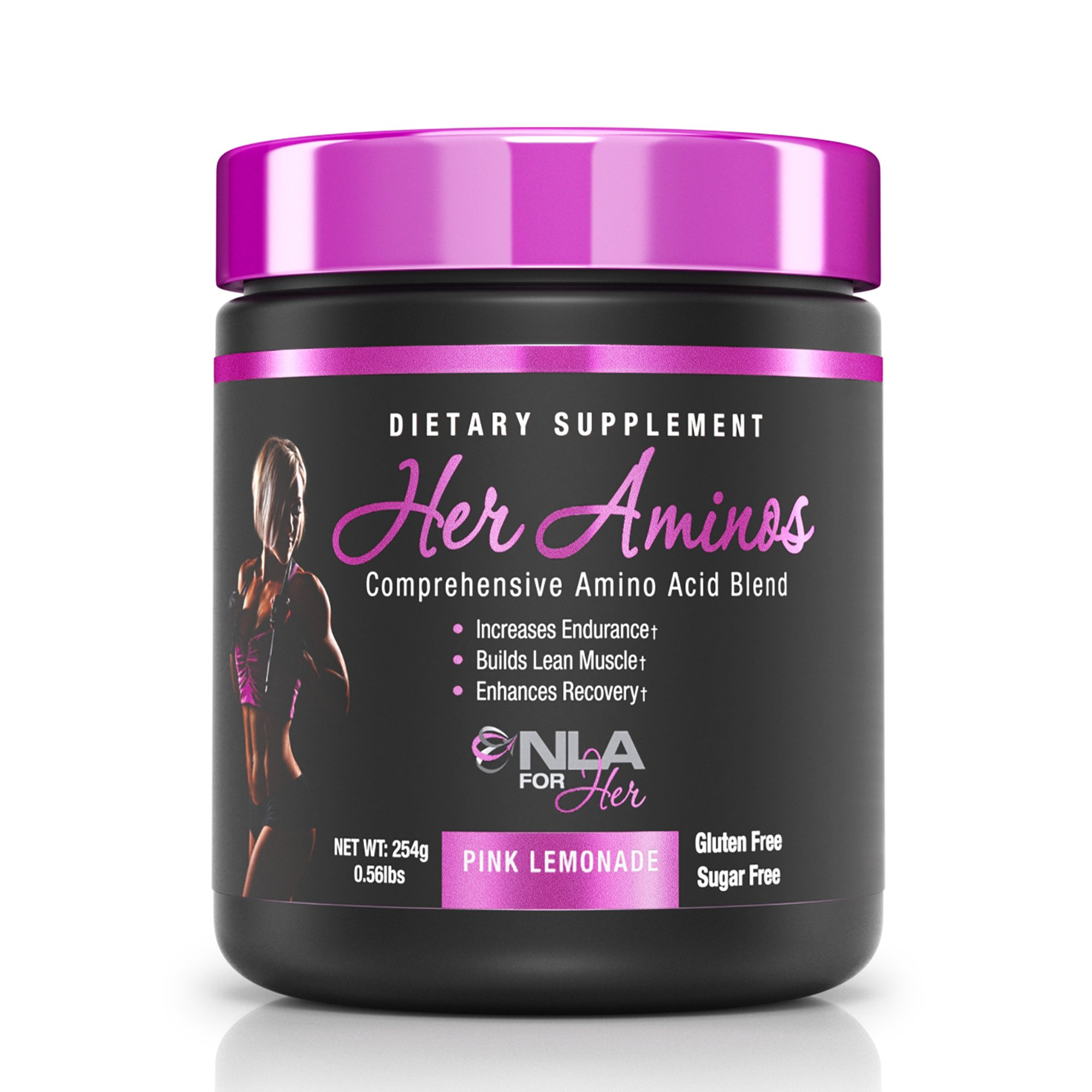 NLA for Her - Her Aminos - Comprehensive Amino Acid Blend - Supports Increased Endurance, Building Lean Muscle, Enhanced Recovery - Pink Lemonade - 254 Grams
