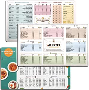 Air Fryer Magnetic Cheat Sheet Cookbook,10.6''X 6.3'' Cooker Accessories Cookbook,Cooking Times Temperature Quick Reference Guide,Air fryer Cooking Chart/Kitchen Unit Conversion Chart(3 Pack)