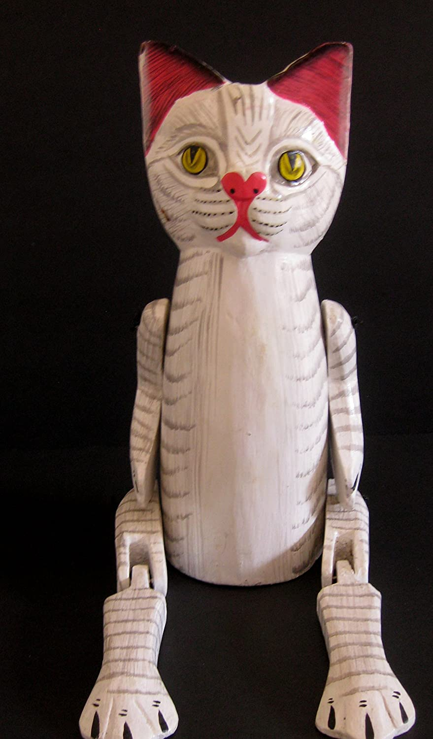 Oma Wooden Cat Statue Sitting Cat Figurine With Jointed Legs Cat Shelf Sitter Home Country Kitchen Decor Gift Large Size Home Kitchen