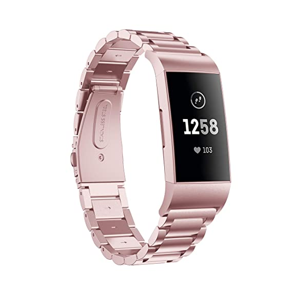 Aresh Compatible with Fitbit Charge 3 Bands, Stainless Steel Replacement  Strap for Fitbit Charge 3/Charge 3 SE Fitness Activity Tracker (Rose Gold)