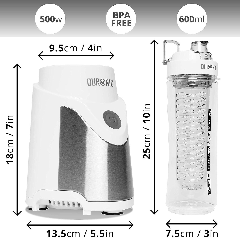 Duronic BL505 Batidora Smoothie Individual de 500 W con 2 Botellas de 600 ml sin BPA Reutilizables e Infusor Incluidos: Amazon.es: Hogar