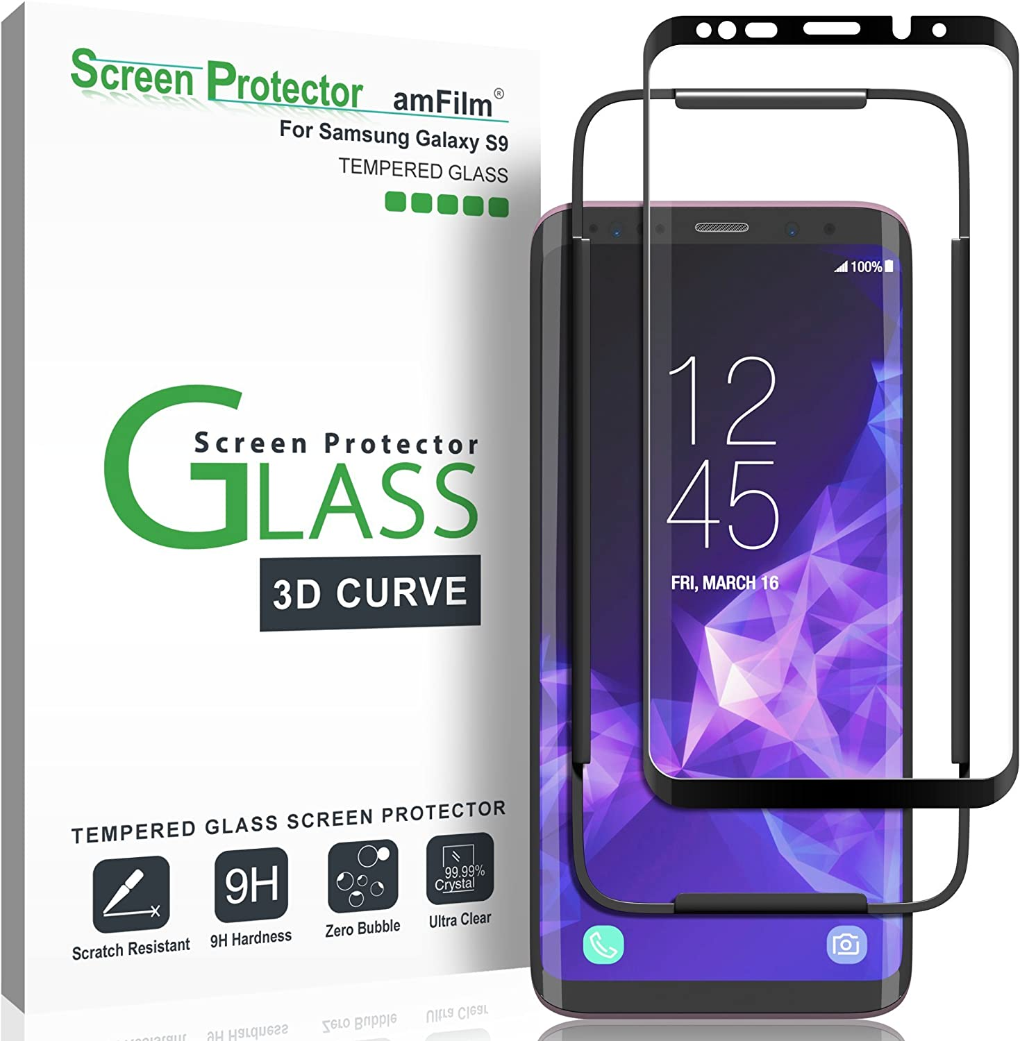 2 Pack Scratch-Resistant for Samsung S9 Tempered Glass Screen Protector Galaxy S9 Screen Protector, Case Friendly,Bubble-Free,9H Hardness 3D Curved