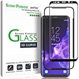 amFilm Glass Screen Protector for Samsung Galaxy S9, 3D Curved Tempered Glass, Dot Matrix with Easy Installation Tray…