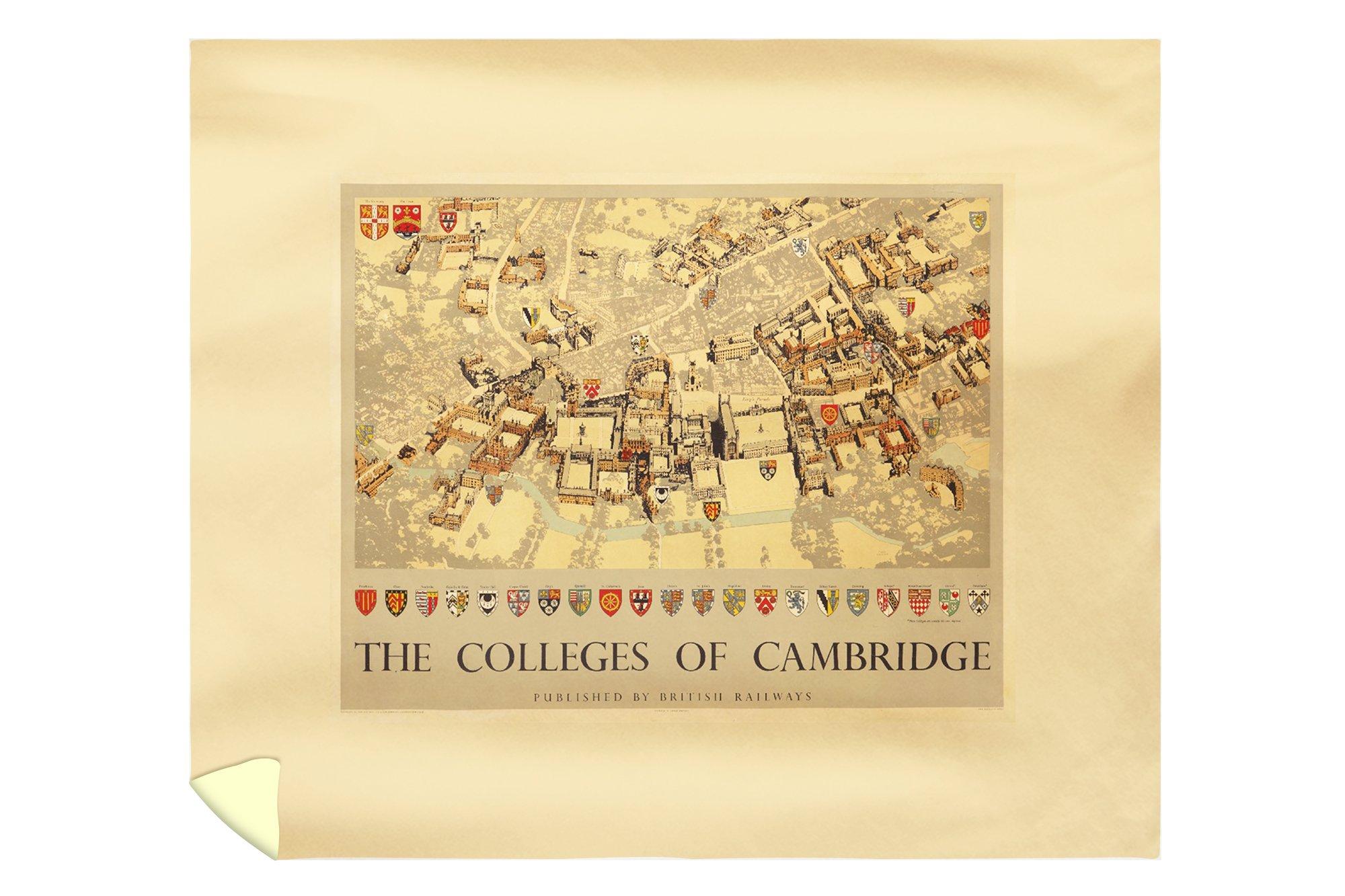 Colleges of Cambridge Vintage Poster (artist: Taylor, Fred) England c. 1935 (88x104 King Microfiber Duvet Cover)