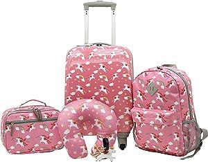 Travelers Club Girls' 5 Piece Kids Luggage Travel Set, Unicorn