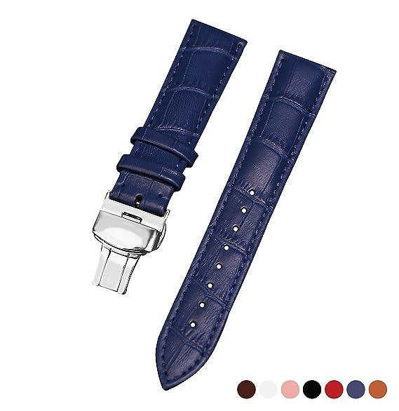 20mm correa del reloj de pulsera de reloj reloj de cuero azul pulseras para relojes banda de piel de becerro de los hombres para el hombre y la mujer: ...