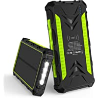 Solar Charger, 20000mAh Qi Wireless Power Bank Portable Panel Charger with 3 Output Ports and 4 LED Flashlight for Camping Outdoor External Backup Battery for iOS Android & More