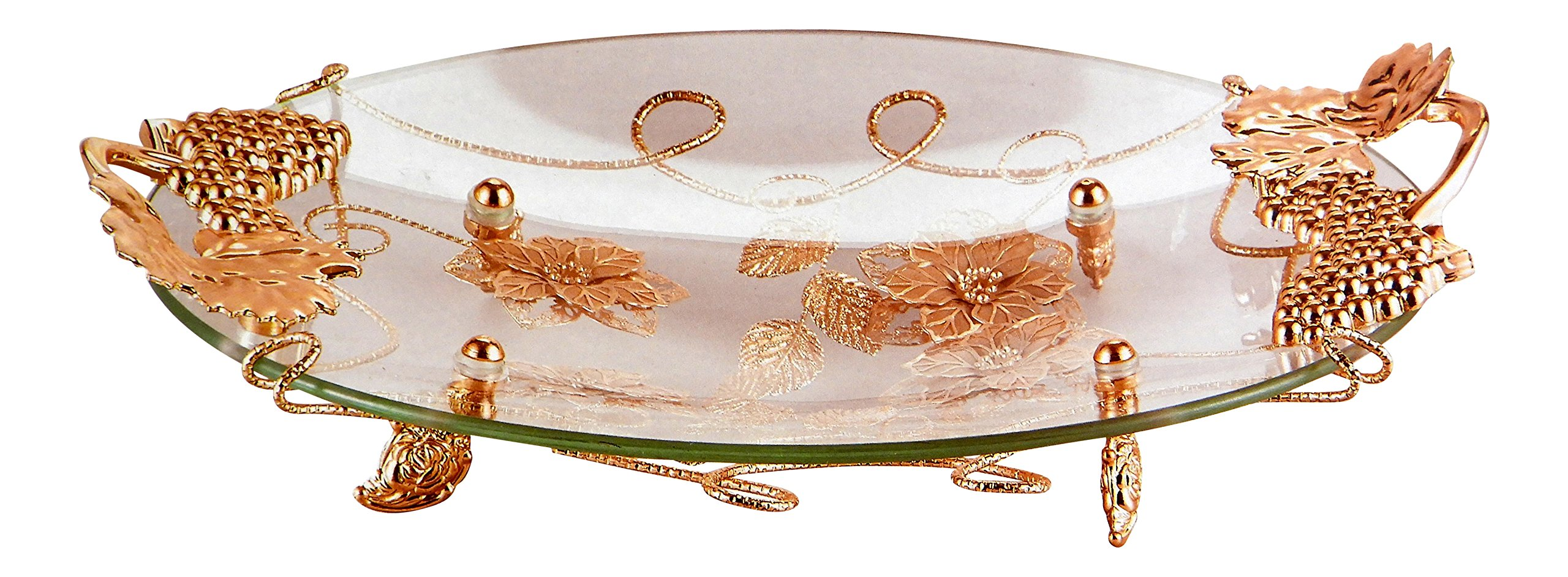 DINY Home & Style Decorative Glass Centerpiece Dish With Gold Leaf Metal Stand
